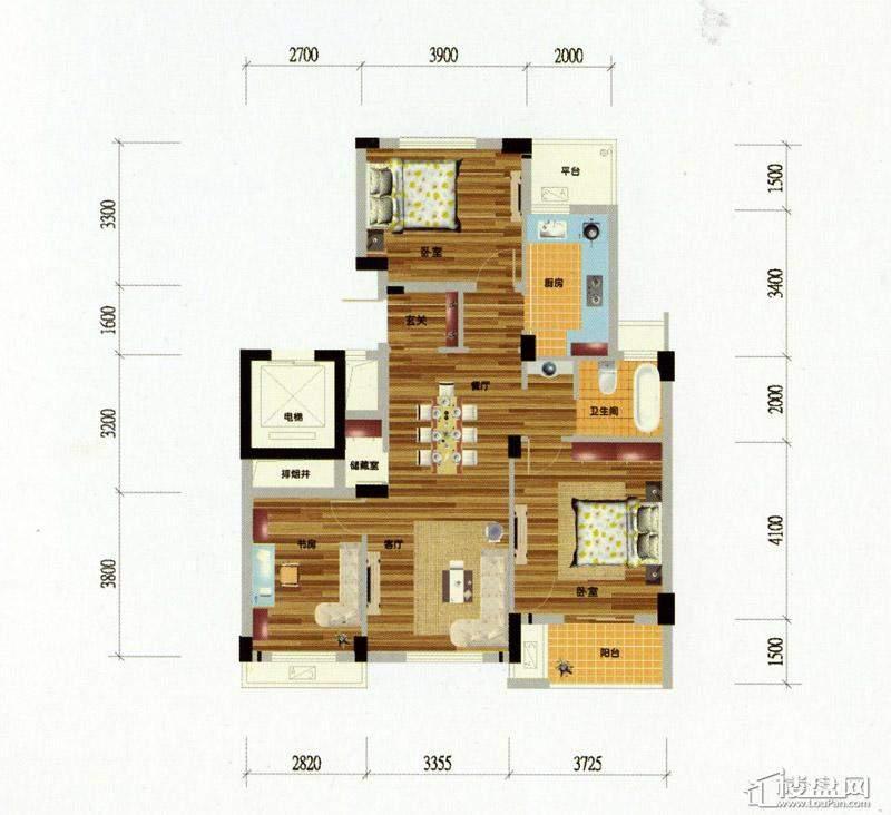 元都新苑A3户型3室1厅1卫1厨 106.00㎡