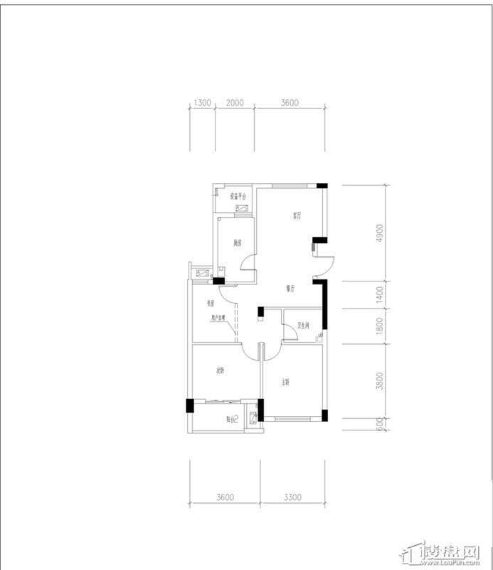 元都新苑3号楼2单元中间套户型图3室2厅1卫1厨 88.11㎡