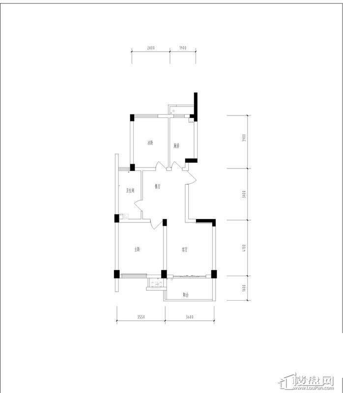 元都新苑4号楼1单元中间套户型图2室2厅1卫1厨 88.70㎡