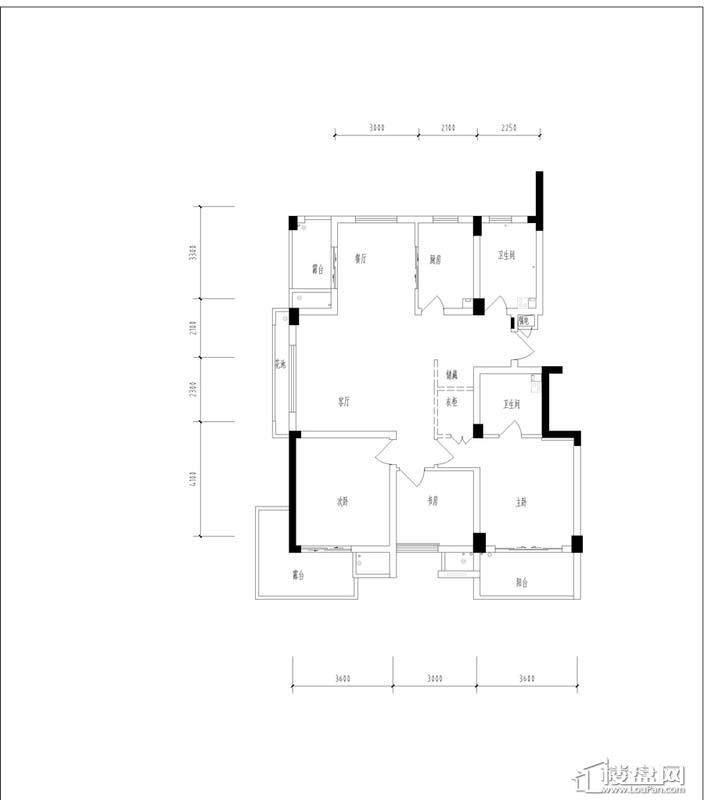 元都新苑4号楼3单元中间套户型图3室2厅2卫1厨 135.37㎡