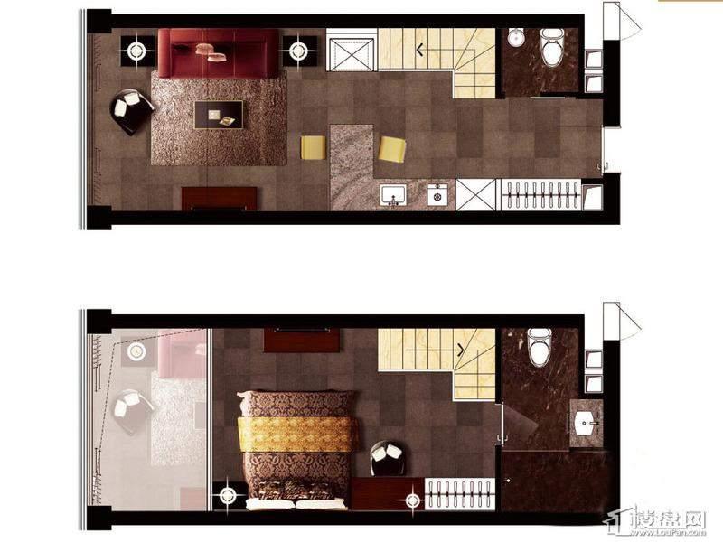 万银国际D户型1室2厅2卫1厨 53.00㎡