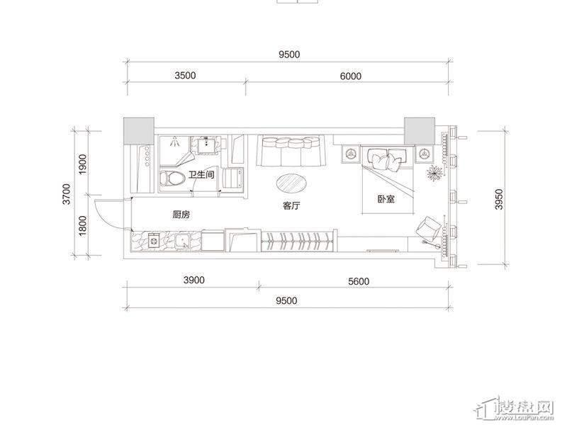 百大绿城西子国际A1户型1室1厅1卫1厨 60.00㎡
