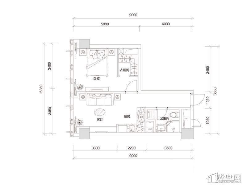 百大绿城西子国际B1户型1室2厅1卫1厨 80.00㎡