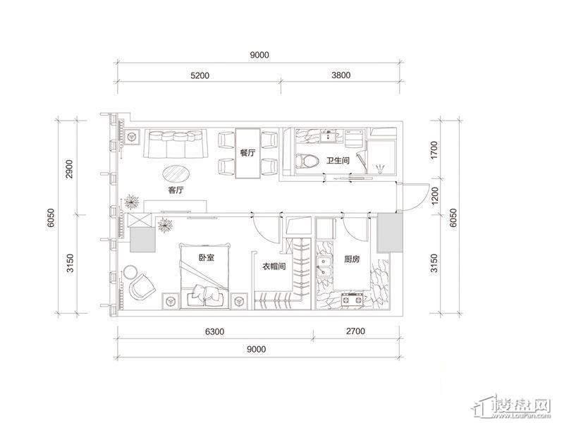百大绿城西子国际B2户型1室2厅1卫1厨 90.00㎡