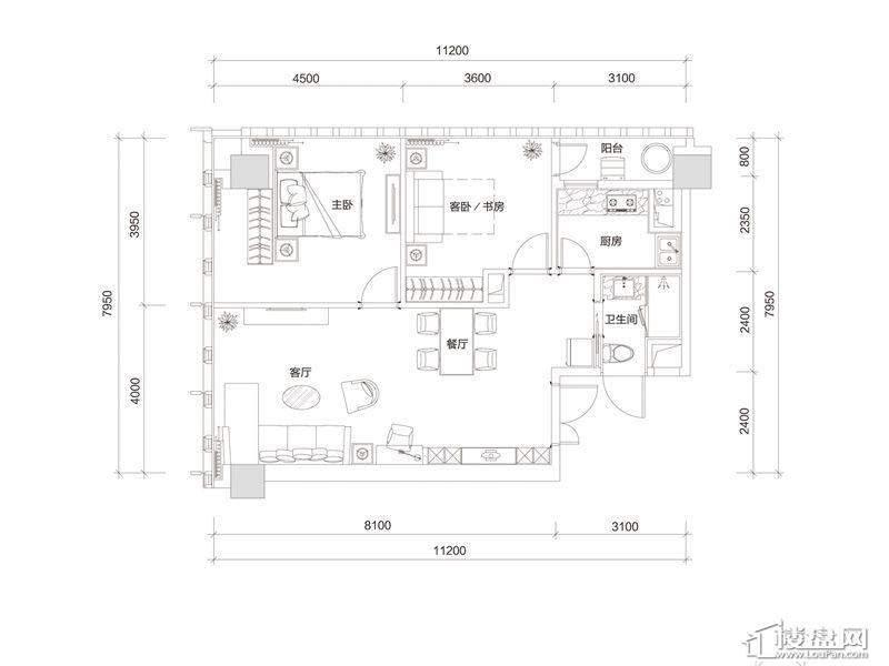 百大绿城西子国际C1户型2室2厅1卫1厨 125.00㎡