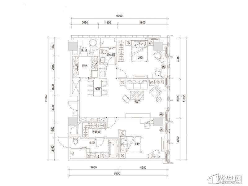 百大绿城西子国际D1户型2室2厅2卫1厨 160.00㎡