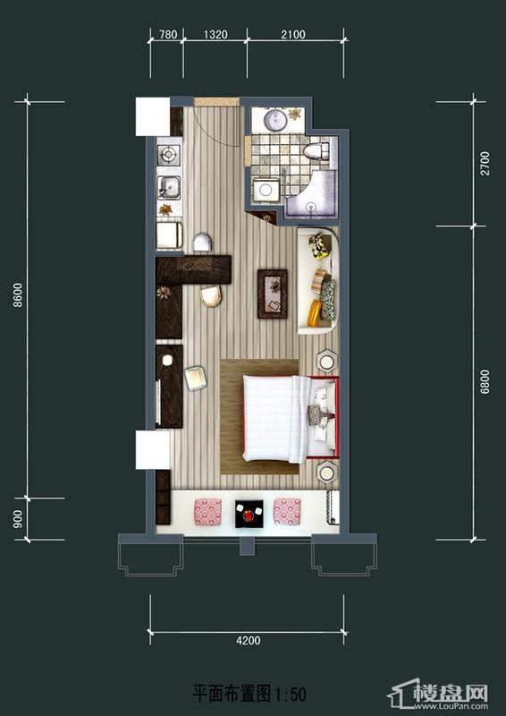 美达北城天地40方平层户型1室1厅1卫1厨 40.00㎡