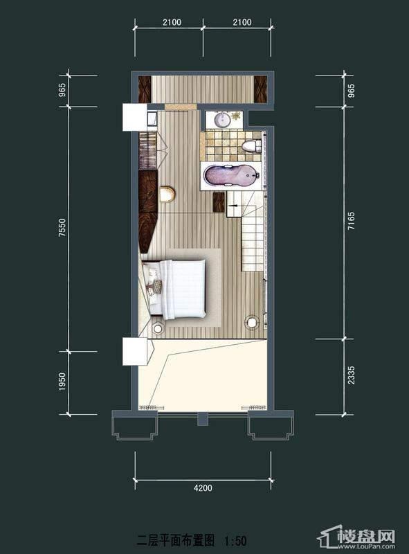 美达北城天地LOFT二层户型1室1厅1卫1厨 50.00㎡
