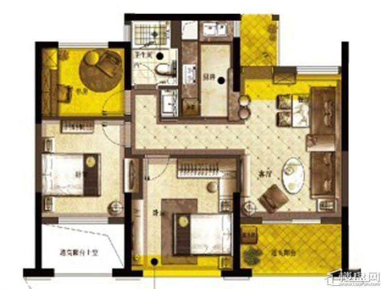 宋都·宋都东郡国际B户型3室2厅1卫1厨 87.00㎡东郡国际户型图