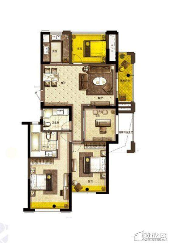 宋都东郡国际C户型4室2厅1卫1厨 137.00㎡