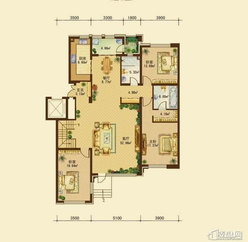 辰能溪树河谷A户型1层 3室2厅2卫