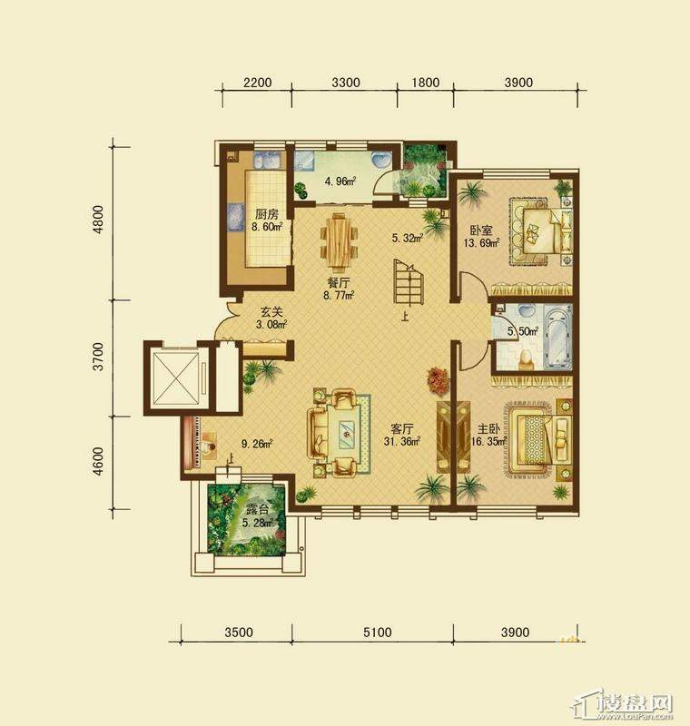 辰能溪树河谷A户型5层 2室2厅1卫