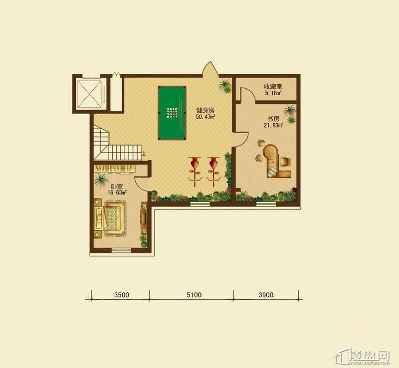 辰能溪树河谷A户型地下室2室1厅