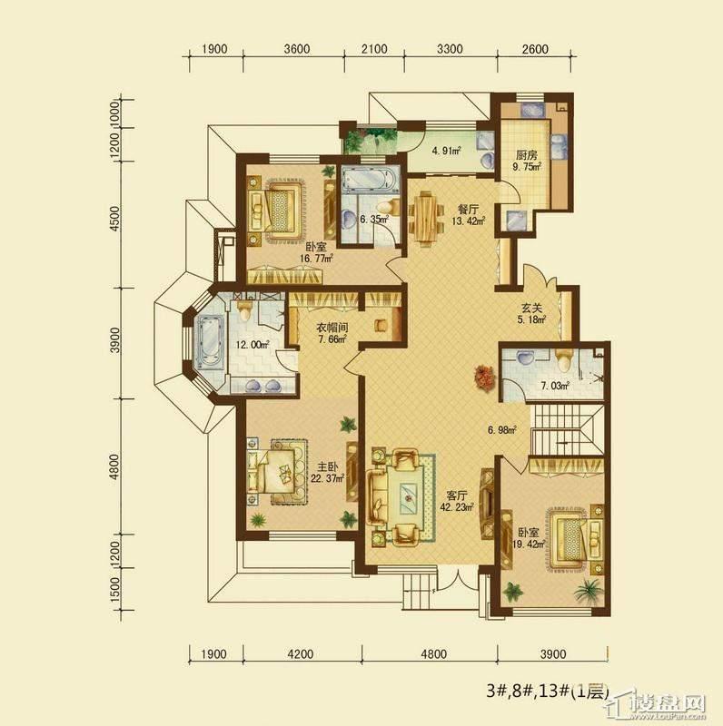 辰能溪树河谷B户型1层 3室3厅3卫