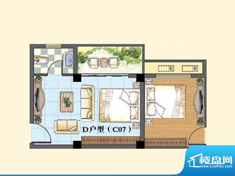 东兴豪园5/6#楼D户型面积:30.00m平米