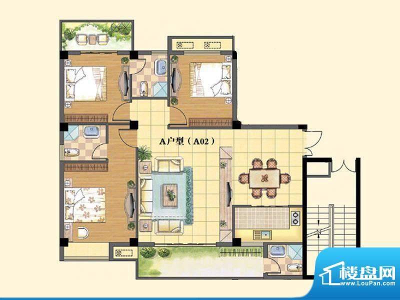 东兴豪园5/6#楼A户型面积:130.00m平米
