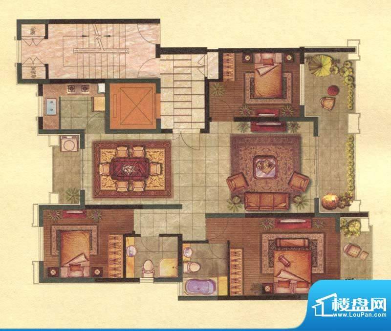 保辉香景园B户型 3室面积:142.00平米
