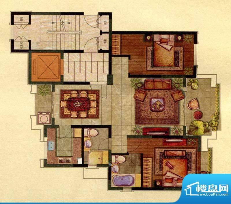 保辉香景园A户型 2室面积:121.00平米