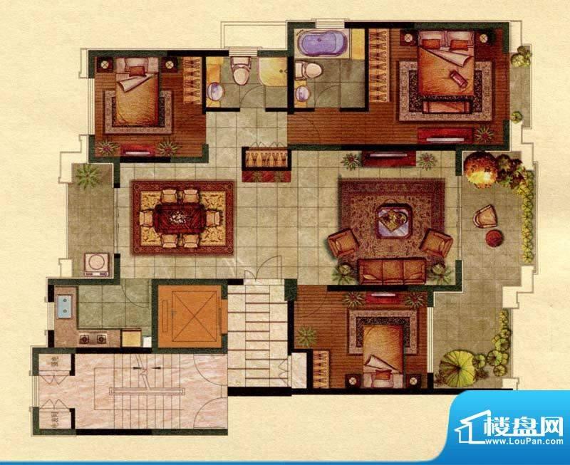 保辉香景园C户型 3室面积:158.00平米