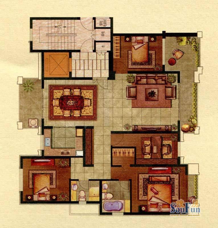 保辉香景园D户型 4室面积:180.00平米
