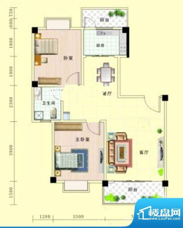 北艺·橄榄苑D2户型面积:88.67m平米