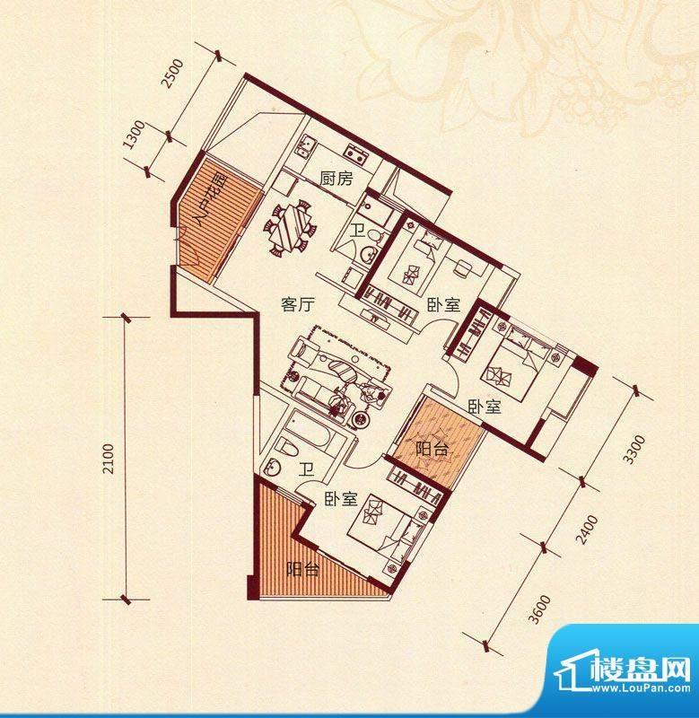 滨海阳光A4户型 3室面积:111.93m平米