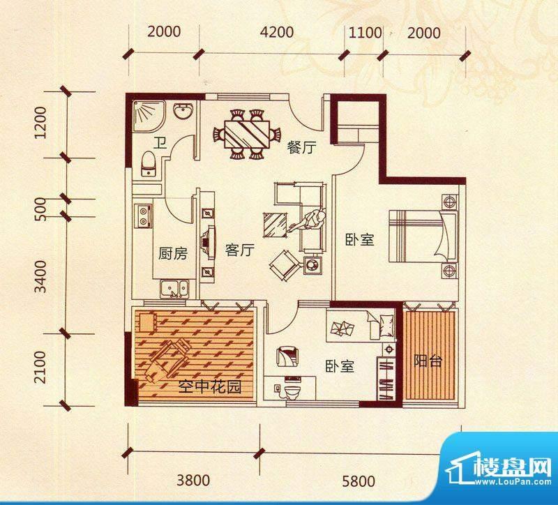 滨海阳光A2户型 2室面积:89.86m平米