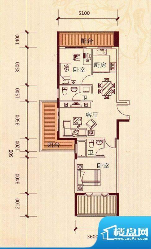 滨海阳光A1*户型 2室面积:88.13m平米