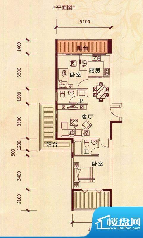 滨海阳光A1户型 2室面积:83.46m平米