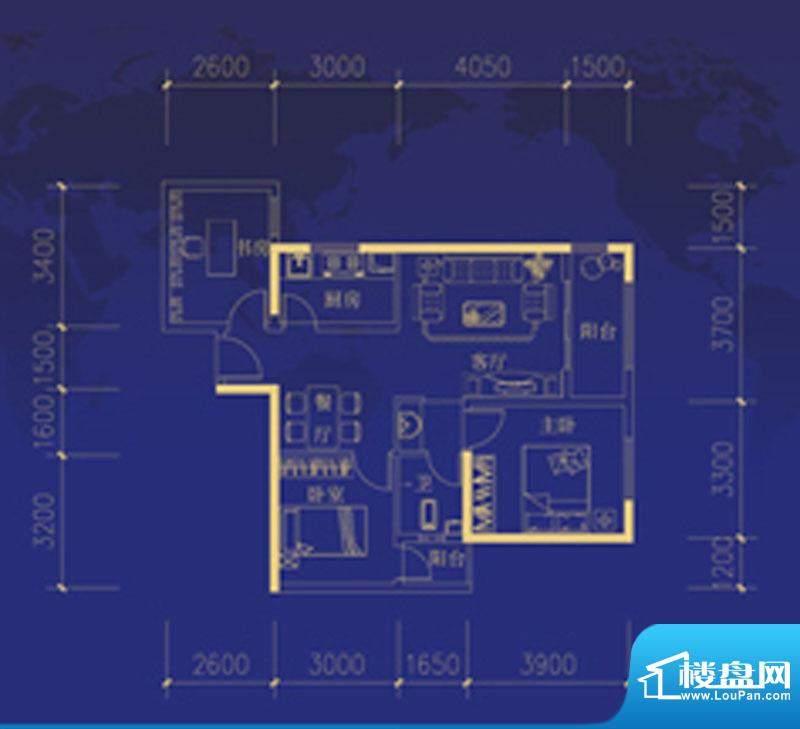 蓝海国际F户型图 3室面积:94.00m平米