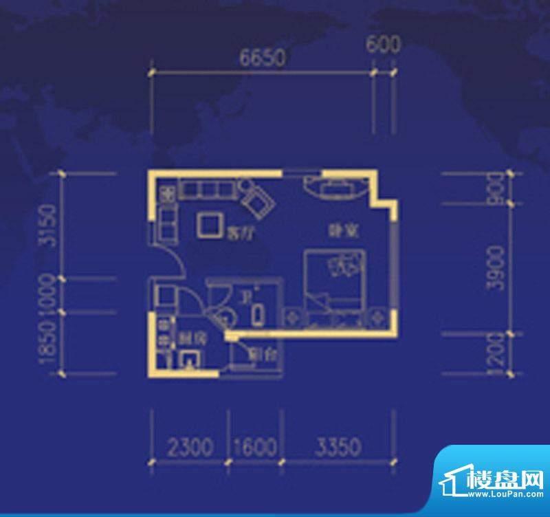 蓝海国际E户型图 1室面积:47.00m平米
