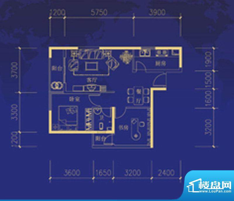 蓝海国际G户型图 2室面积:85.00m平米