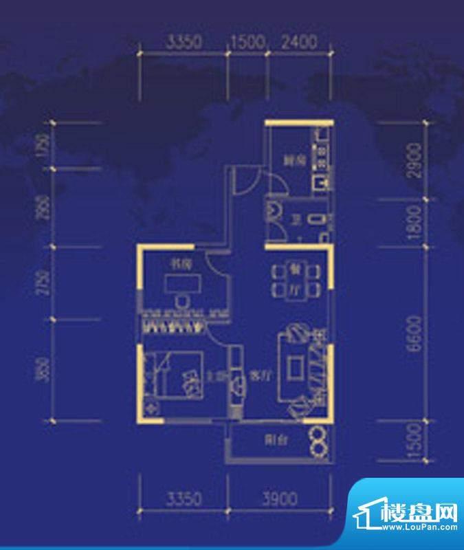 蓝海国际A户型图 2室面积:85.00m平米