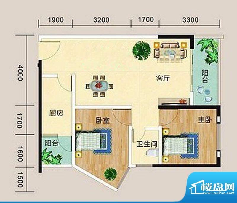 宏海花园C户型图 2室面积:88.47m平米