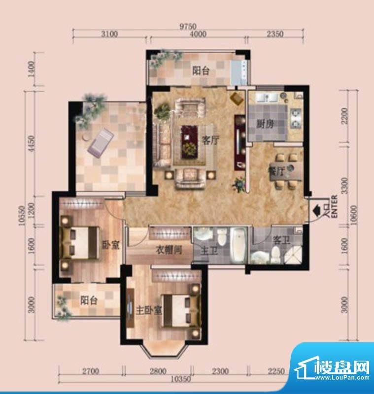 东尚领域2#A户型图 面积:107.00m平米