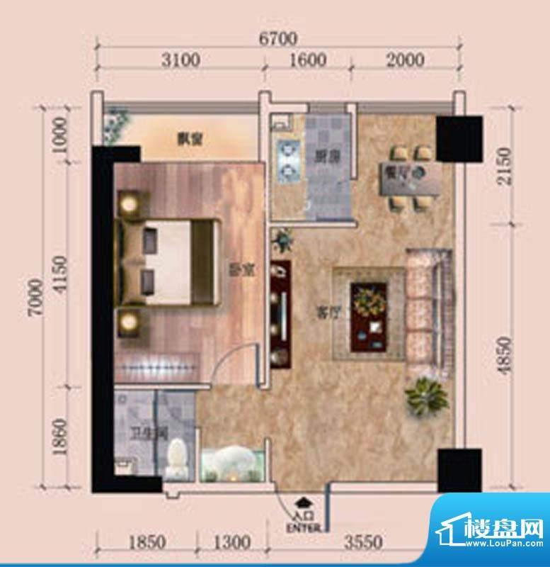 东尚领域1#A户型图 面积:56.00m平米