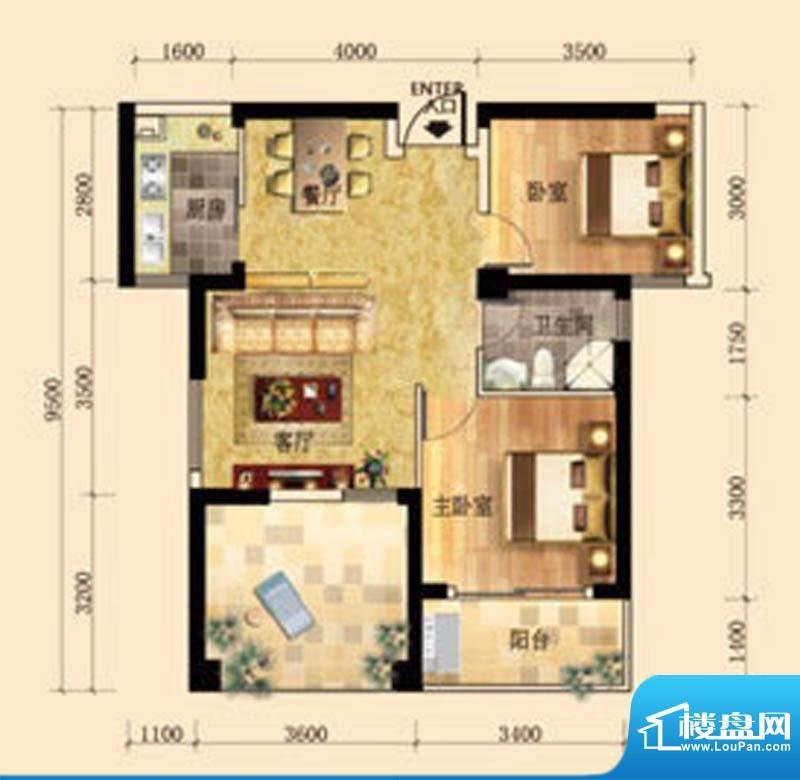 东尚领域2#B户型图 面积:76.00m平米