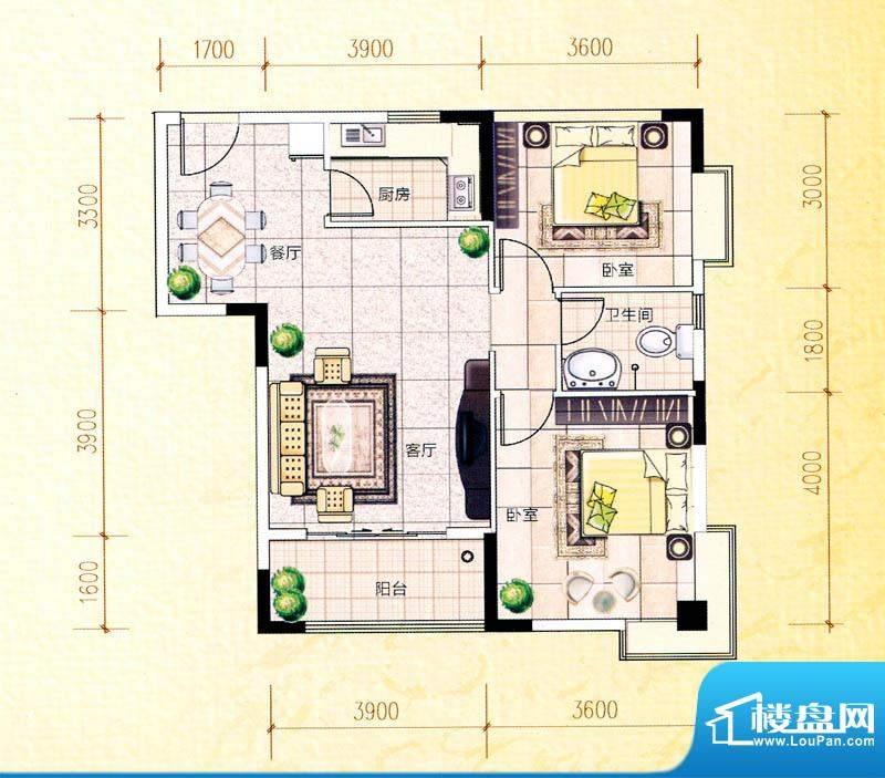 白金瀚宫L户型图 2室面积:89.80m平米