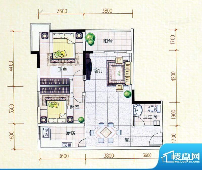 白金瀚宫A户型图 2室面积:89.54m平米