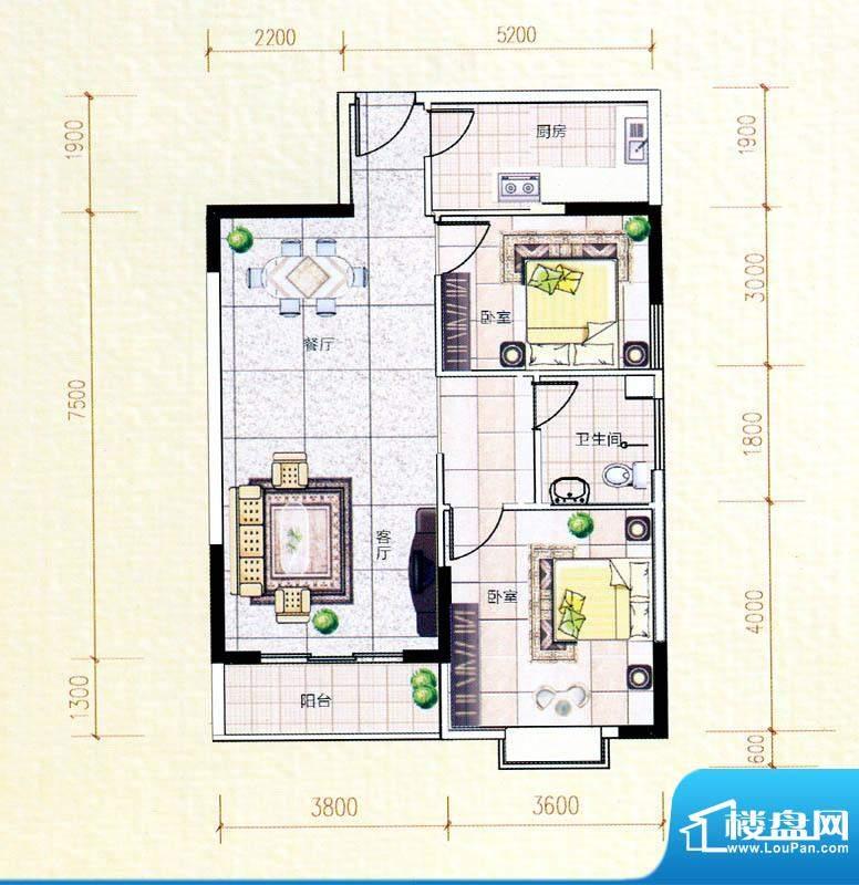 白金瀚宫B户型图 2室面积:86.80m平米