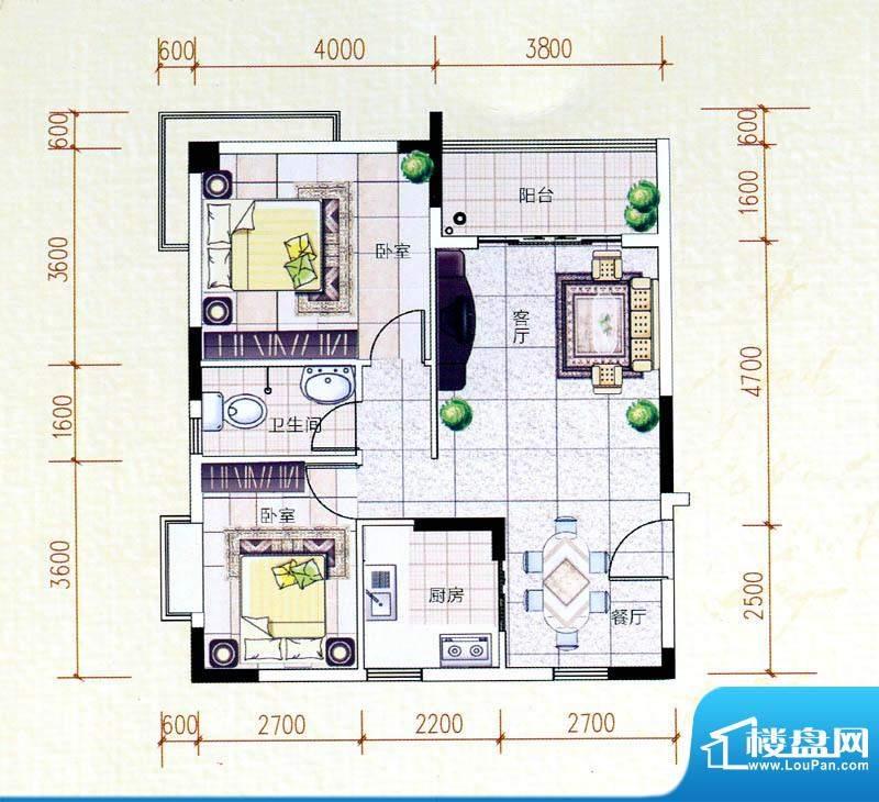 白金瀚宫H户型图 2室面积:85.67m平米