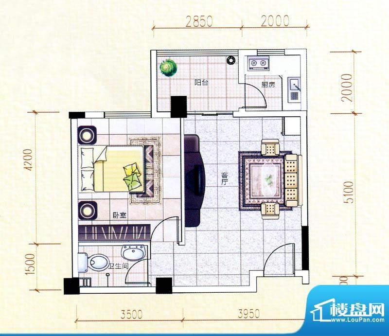 白金瀚宫J户型图 1室面积:64.36m平米