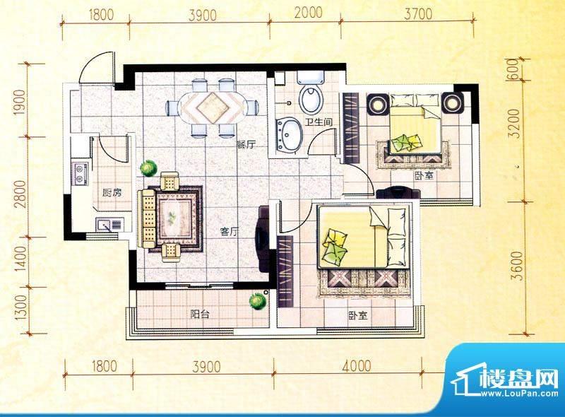 白金瀚宫K户型图 2室面积:89.65m平米