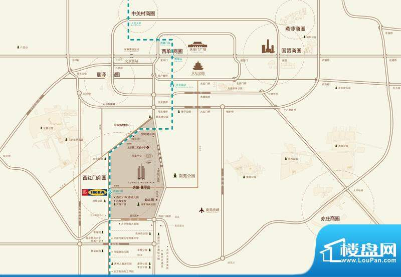 鸿坤·曦望山区域交通图