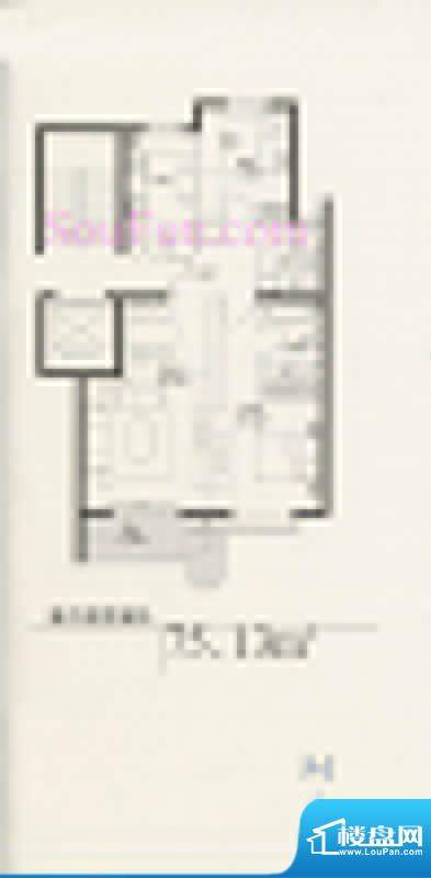 玉泉新城02户型 2室2厅2卫1厨面积:75.13平米