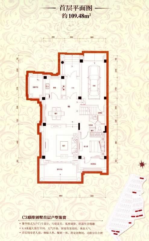 C3联排别墅首层平面图
