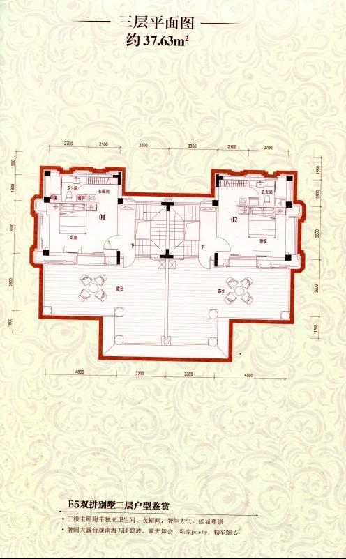 B5双拼别墅三层平面图