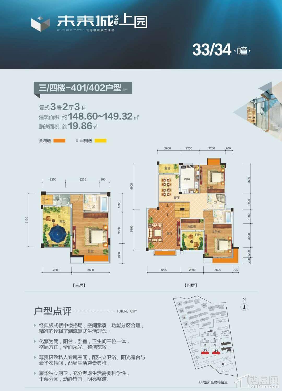 (洋房)33-34栋 三楼-四楼-401-402户型 复式3房2厅3卫 148.60-149.32㎡ 赠送19.86㎡