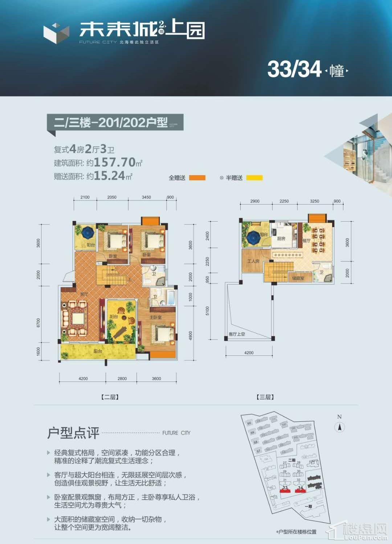(洋房)31-32栋 二楼-三楼 201-202户型 复式4房 157.70平 赠送15.24平