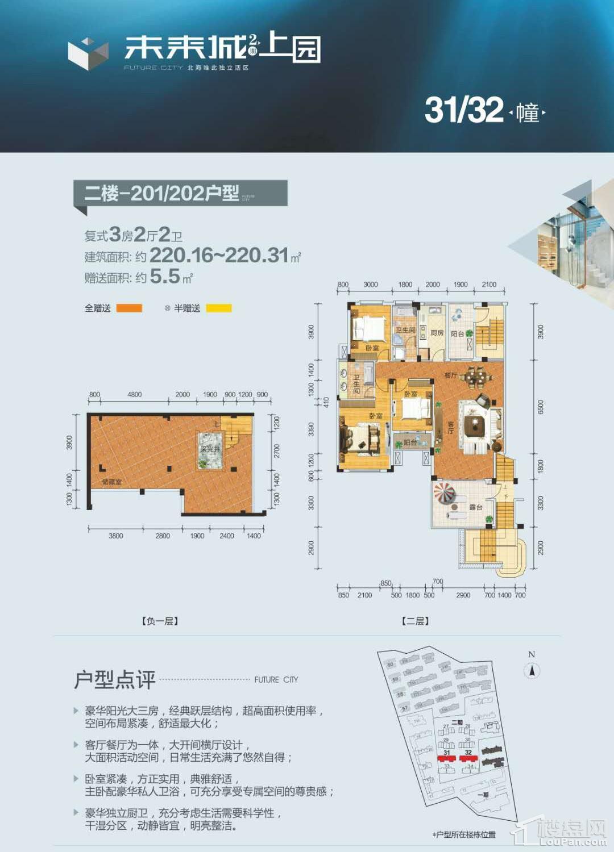 (洋房)31-32栋 二楼-201-202户型 复式3房2厅2卫 220.16-220.31㎡ 赠送5.5㎡